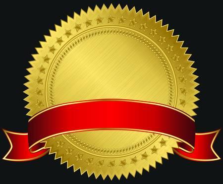 gold seal: Golden blank label with red ribbon, illustration  Illustration