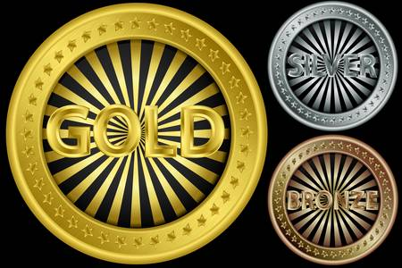 gold age: Golden, silver and bronze empty coins, vector illustration