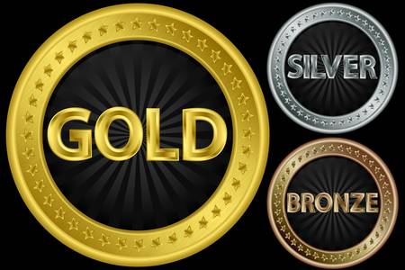 silver ribbon: Golden, silver and bronze empty coins, illustration