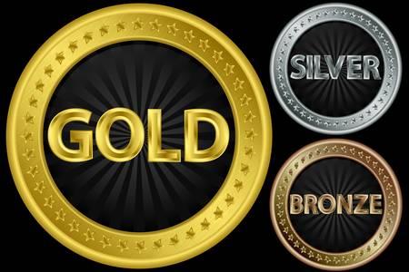 Oro, plata y bronce, monedas vacíos, ilustración