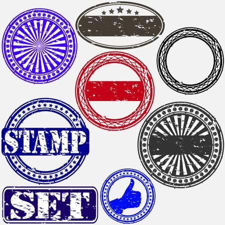 Grunge rubber stamp set, illustration Illustration