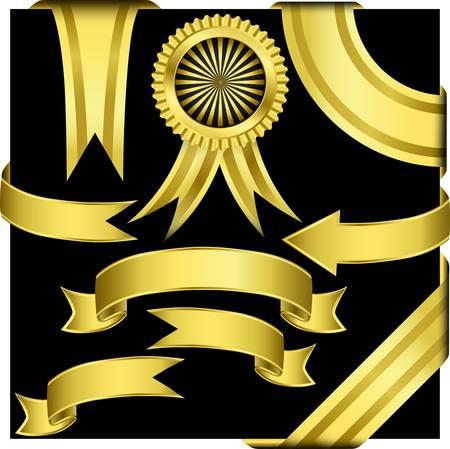 ribbon award: Golden ribbons set, illustration  Illustration