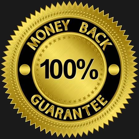 gold seal: 30 days money back guarantee golden sign illustration
