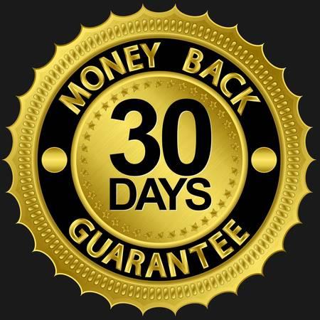 30 days money back guarantee golden sign illustration