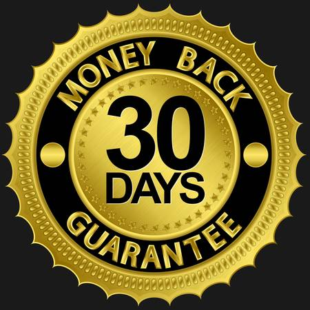 back icon: 30 days money back guarantee golden sign illustration