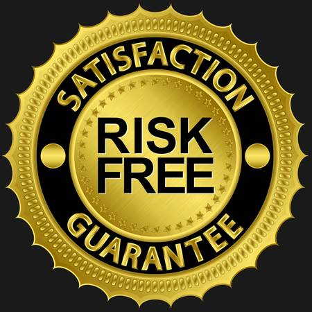 Risk free satisfaction guarantee golden sign illustration  Vector