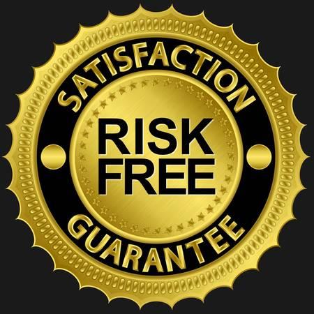 Risk Free: Risk free satisfaction guarantee golden sign illustration