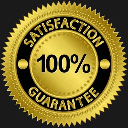 Satisfaction guarantee 100 percent golden sign illustration