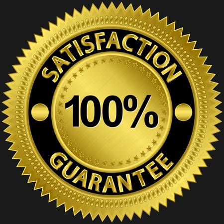 approvals: Satisfaction guarantee 100 percent golden sign illustration