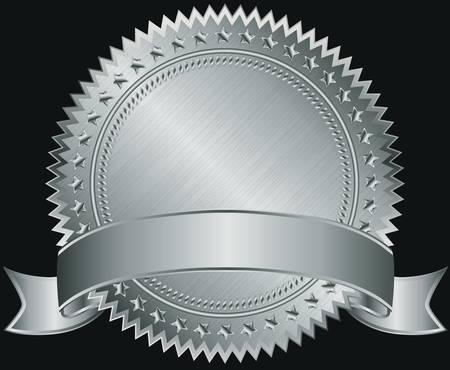 metallic tape: Silver blank label with silver ribbon illustration  Illustration