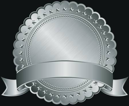 Silver blank label with silver ribbon illustration  Vector