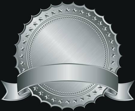 zeehonden: Zilveren lege label met zilveren lint illustratie Stock Illustratie