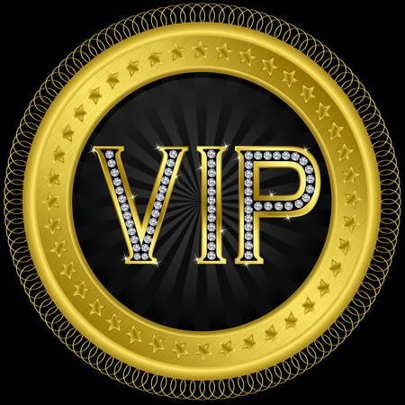 Vip golden label with diamonds illustration