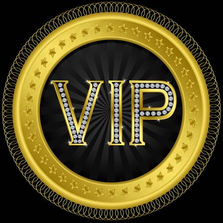 advantages: Vip golden label with diamonds illustration