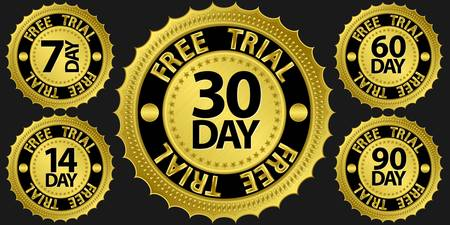 trials: Free trial golden sign set illustration
