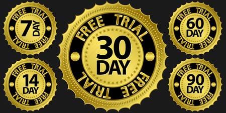 Free trial golden sign set illustration Stock Vector - 15066407
