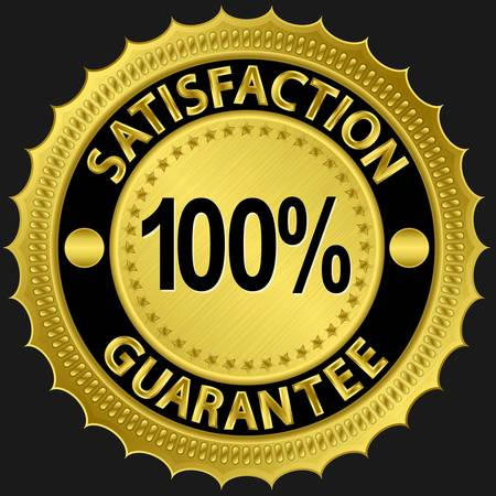100 percent satisfaction guarantee golden sign illustration  Vector