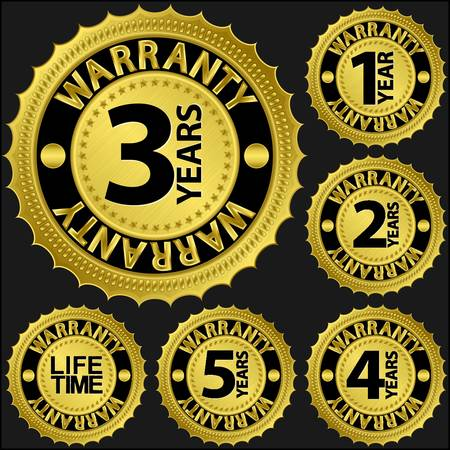 Warranty golden label set illustration Vector