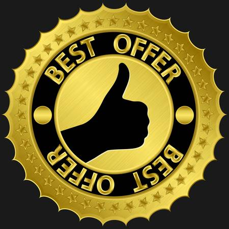 Best offer golden label with thumb up,  illustration Stock Vector - 15148270