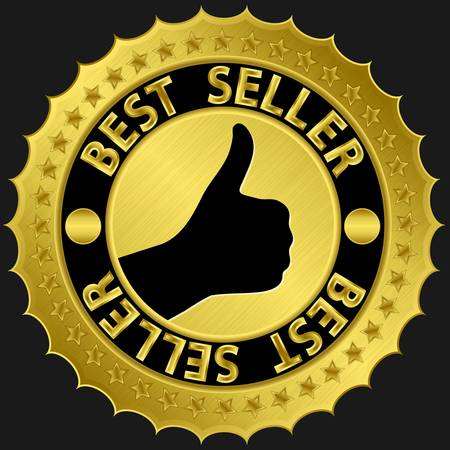 vendedores: L�der de ventas de oro etiqueta con el pulgar para arriba, ilustraci�n