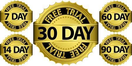 Free trial golden sign set, vector illustration  向量圖像