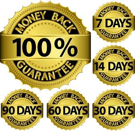 Geld terug garantie gouden set, vector illustratie Vector Illustratie