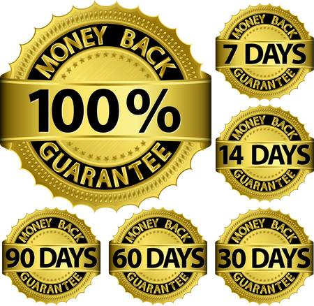 gold money: Money back guarantee golden set, vector illustration