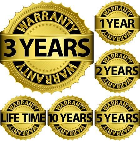 Garantía dorado conjunto de etiquetas, ilustración vectorial