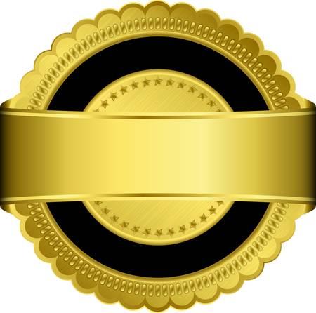 Golden blank label with golden ribbon Illustration