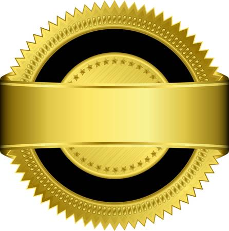 approve icon: Golden blank label with golden ribbon Illustration