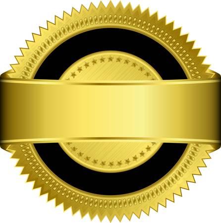 Or étiquette vierge avec ruban doré