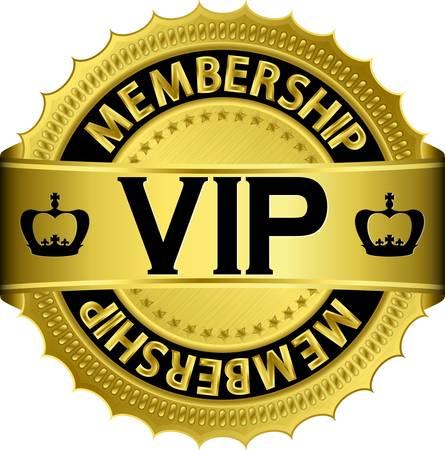vip symbol: Vip etiqueta dorada con lazo
