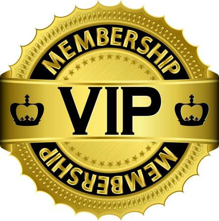 Vip golden label with ribbon Vector