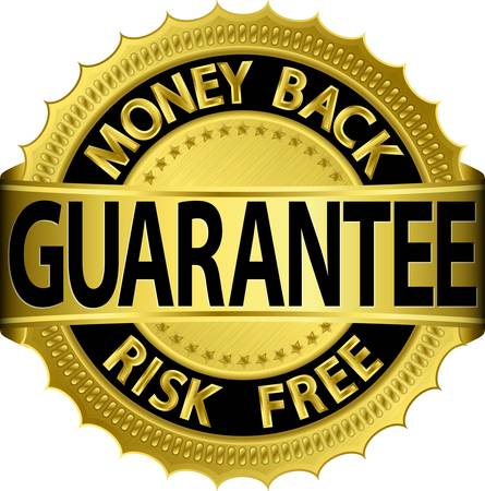 Money back guarantee risk free golden sign,  illustration Vector