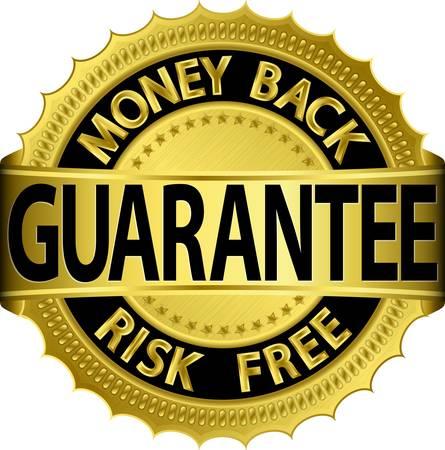 Risk Free: Money back guarantee risk free golden sign,  illustration