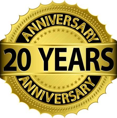 anniversary party: 20 anni etichetta nozze d'oro con nastro Vettoriali