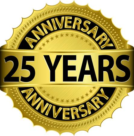 wedding anniversary: 25 years anniversary golden label with ribbon