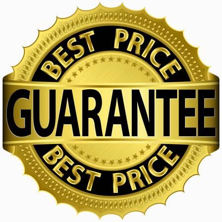 best hand: Mejor precio garantizado etiqueta dorada Vectores