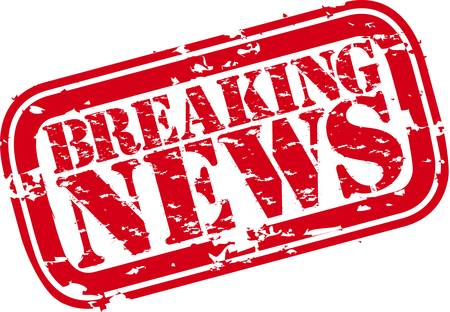Grunge breaking news rubber stamp