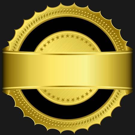 ribbon award: Golden blank label with golden ribbon Illustration