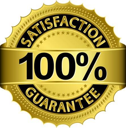 zufriedenheitsgarantie: 100 Prozent Zufriedenheitsgarantie goldenen Schild mit Farbband