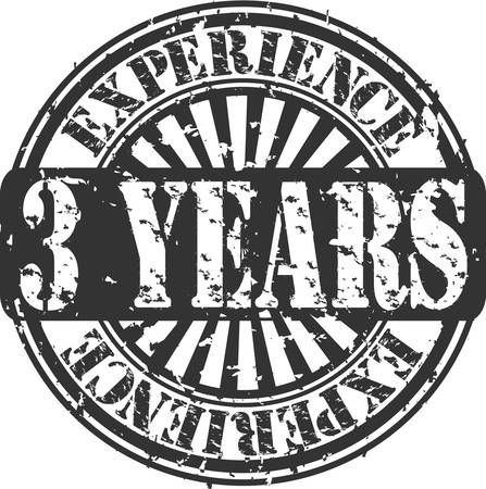 Grunge 3 years of experience rubber stamp Vector