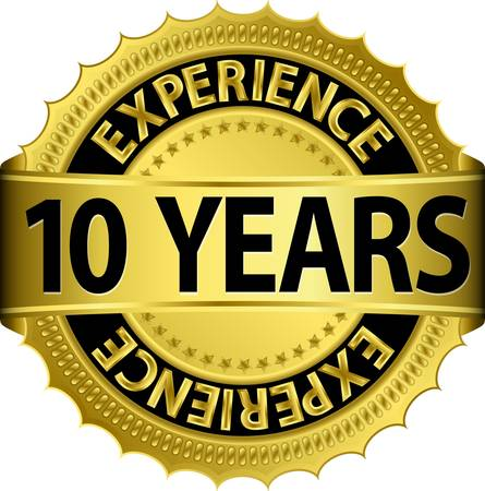10 years experience golden label with ribbon Stock Vector - 15656435