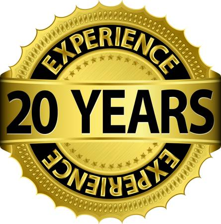 20 years experience golden label with ribbon Vector