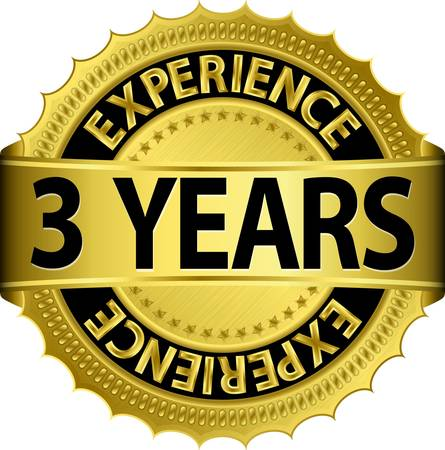 3 years experience golden label with ribbon Stock Vector - 15656481