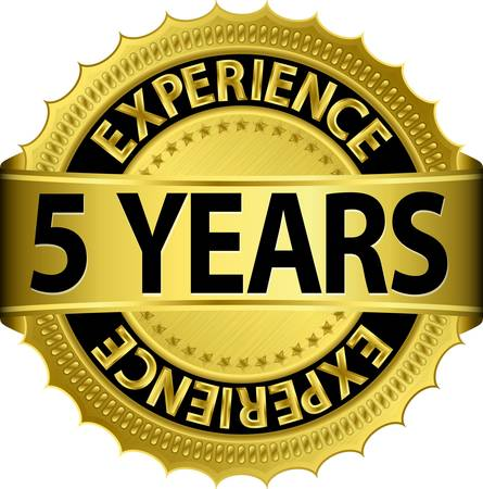 5 years experience golden label with ribbon Vector