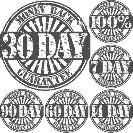 money back: Grunge money back guarantee rubber stamp set