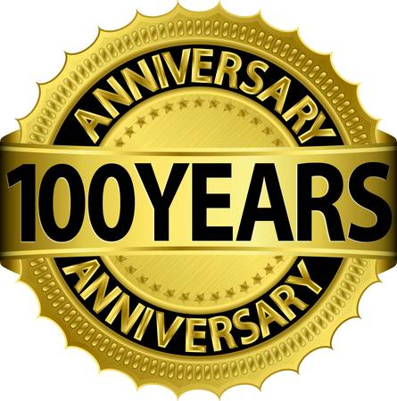 100 years anniversary golden label with ribbon, vector illustration  Vector