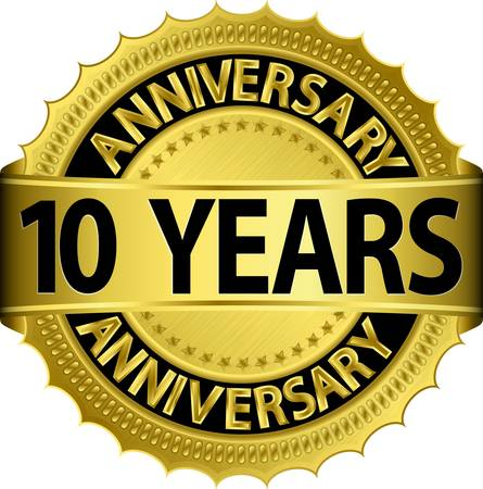 anniversary vector: 10 years anniversary golden label with ribbon, vector illustration