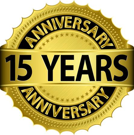 15: 15 years anniversary golden label with ribbon, vector illustration